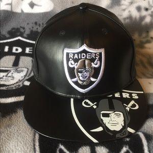 Raiders Leather SnapBack Hat